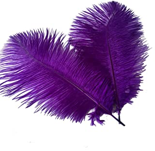 Sowder 12-14inch(30-35cm) Ostrich Feathers Plume for Wedding Centerpieces Home Decoration Pack of 10pcs(Purple)