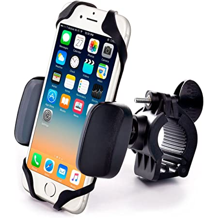 Metal Bike & Motorcycle Phone Mount - for Any Smartphone (iPhone 12 Pro, Xr, SE, Max, S21). Unbreakable Handlebar Cell Phone Holder for Bike & Bicycle