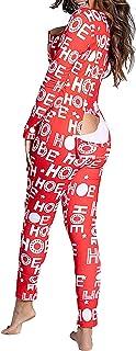Onesies para Mujer, Ropa de Dormir, Pijama de Navidad con Cuello en V, Ropa de salón, Mono con Botones, Ropa de hogar, Pijamas para Adultos, Trajes, Mono