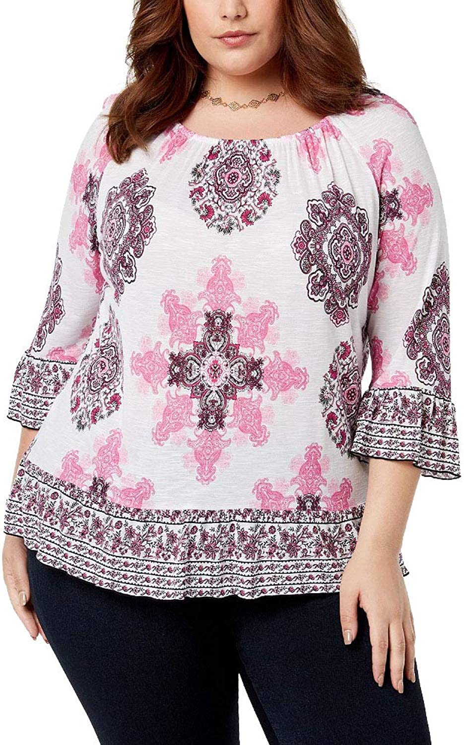 I.N.C. International Concepts Women's Plus Size Ruffled Peasant Top