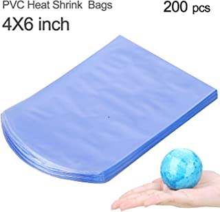 COQOFA 200 Pcs 4X6 Inch Round Bath Bomb Bags PVC Heat Shrink Wrap Bags for Bath Bombs Soaps Bottles Cookies Crafts DIY Homemade Products