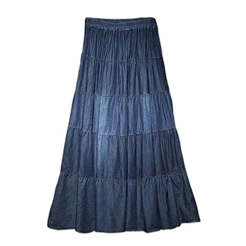 6b116d543b3 Tengfu Womens Elegant Casual A-line Ankle Length Long Denim Prairie Skirts