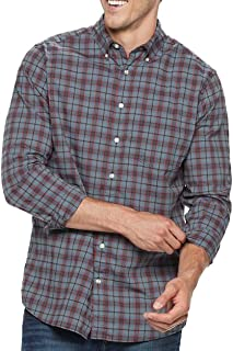 Sonoma Mens Classic Fit Flexwear Button Down Casual Shirt Blue Red Grey