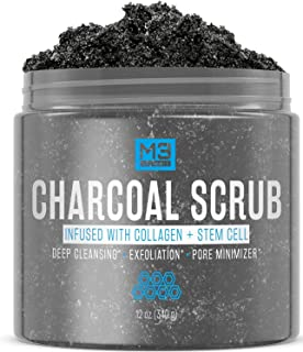 M3 Naturals Activated Charcoal Scrub Infused with Collagen and Stem Cell - Natural Exfoliating Body and Face Polish for Ac...