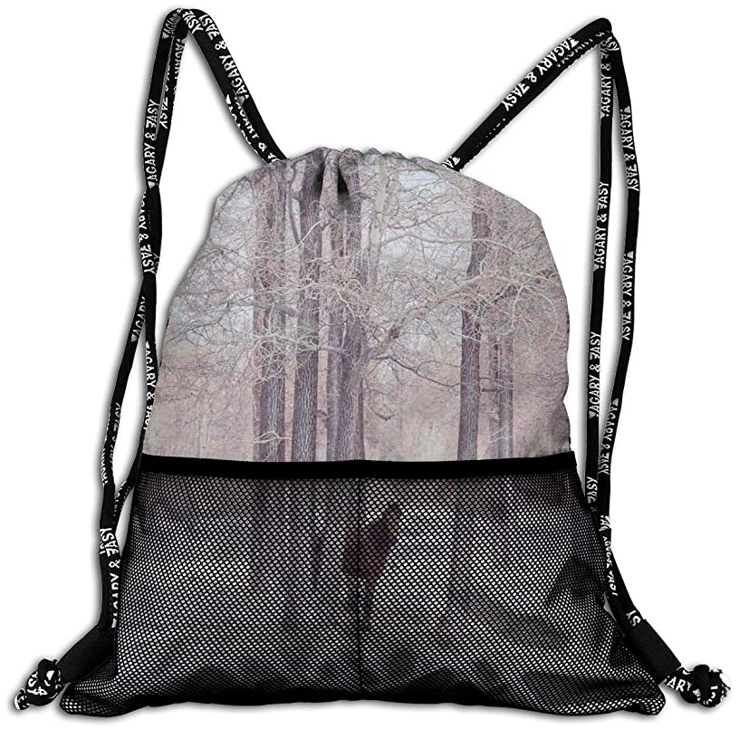 Drawstring Backpacks Bags,Lonely Horse In Forest Stands Behind Leafless Trees Winter Snowy Panorama,5 Liter Capacity,Adjustable