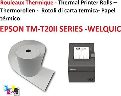20 Bobines Papier thermique pour EPSON TM-T20II SERIES et WELQUIC 80 mm recharge standard TPV rouleau 80 x 80 X 12 mm...