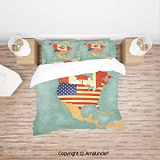 SCOCICI States and Canada Outline Map of The North America in Grunge Stylized Soft Color Family Decor Home Comforter Bedding Sets Duvet Cover Sets Bedspread for Adult Kids 4 Piece Bedding Set