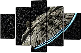5 Panels Star Wars Destroyer Millennium Falcon Wall Art Canvas Painting Modern Abstract Picture Print Poster Artwork for Living Room Bedroom Home Decor Stretched Framed Ready to Hang (60''Wx40''H)