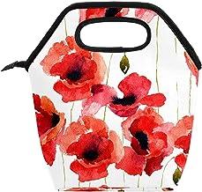 Przenośna torba na lunch box o dużej pojemności, do pracy w biurze, w szkole, na pikniku, na piknik, kwiaty maku