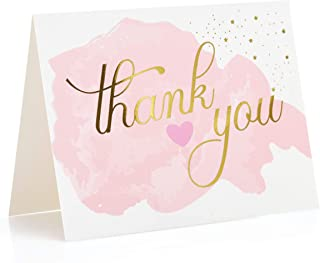 Le vélo - Gold Foil Stamped Thank You Cards with White Envelopes (Set of 48) | Great for Weddings, Bridal Showers, Baby Showers, Parties & More | Premium Cardstock with Pink Blush Watercolor Design
