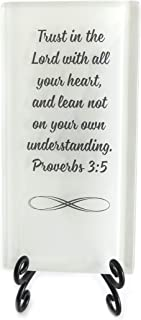 Lifeforce Glass Trust in The Lord Inspirational Glass Plaque. Encouraging Scripture Verse for Your Desk, Or a Very Meaningful Gift White.