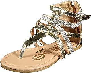 b79676581 bebe Girls Metallic Gladiator Sandals with Rhinestone Straps (Little Kid/Big  Kid)
