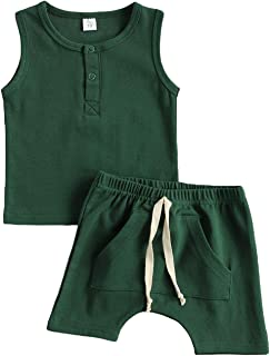 Bmnmsl Baby Boys Shorts Set Button Tank Top and Elastic Waist Short Pants Outfit Solid Color Cotton Summer Clothes