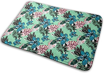 Beautiful Hawaii Pattern with Plants and Flowers Carpet Non-Slip Welcome Front Doormat Entryway Carpet Washable Outdoor Indoor Mat Room Rug 15.7 X 23.6 inch