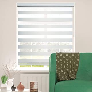 ShadesU Zebra Dual Layer Roller Sheer Shades Blinds Light Filtering Window Treatments Privacy Light Control for Day and Night (Maxium Height 72inch) (White Color) (Width 36inch)