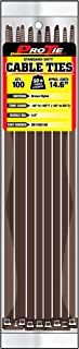 Pro Tie BR14SD100 14.6-Inch Brown Standard Duty Color Cable Tie, Brown Nylon, 100-Pack