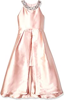 Girls' Big 7-16 High-Low Party Dress with Embellished Neckband