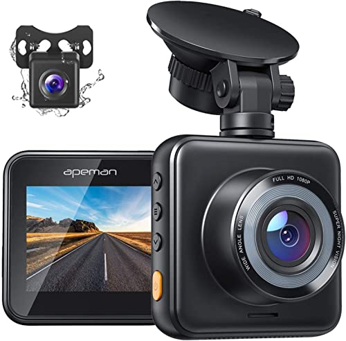 APEMAN Dual Dash Cam for Cars Front and Rear with Night Vision 1080P FHD Mini in Car Camera 170° Wide Angle Driving R...