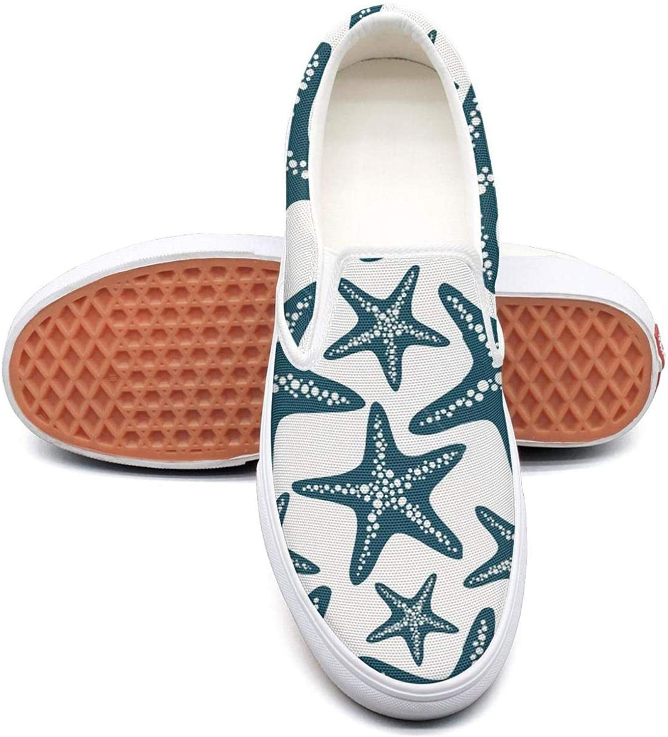 Lalige Starfish Pattern White Background Women Printed Graphics Canvas Slip-ONS Sneakers shoes