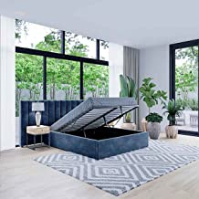 Bed Frame Gas Lift Bed Base with Storage Fabric Upholstered Platform Bed Frame (Blue, Queen)