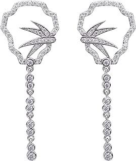 SILVERAL Silver Earrings for Women Crystal Palm Tree Leaves Dangle Earrings Pierced Earrings (Coconut Palm Silver)