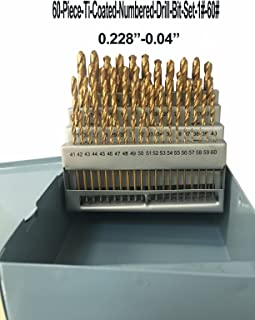 LLDSIMEX 60 Piece 1#-60# Titanium Nitride Coated Numbered Drill Bit Set High Speed Steel (0.228