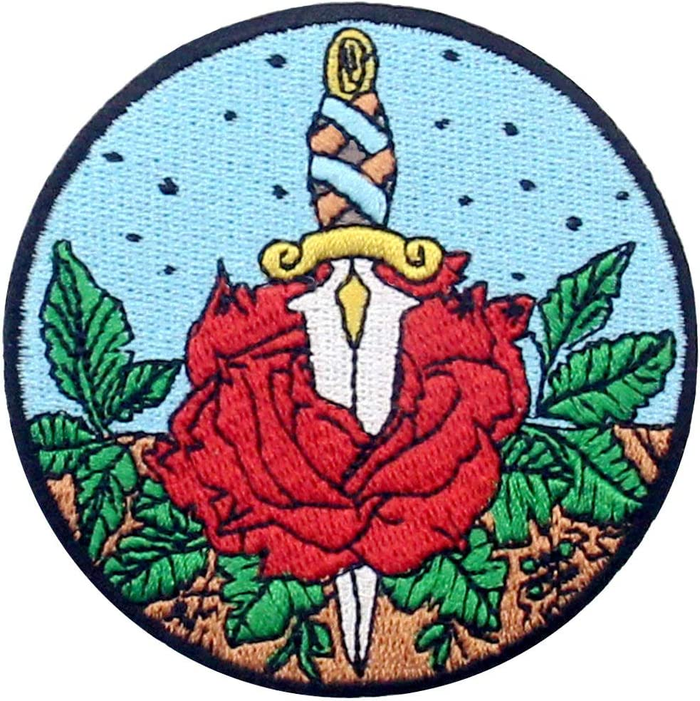 Rose and Dagger Patch Los Angeles Mall Embroidered On High quality Sew Badge Applique Iron