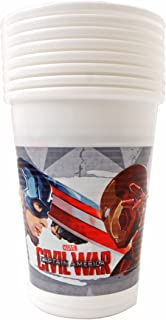 Marvel Comics Avengers Civil War Captain America Kids Party Disposable Plastic Cup 6.7 oz (8 PACK)