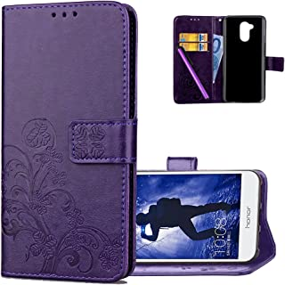 HMTECH Huawei Honor 6A Case,Embossed Floral Card Slots Magnetic Flip Stand Shockproof PU Leather Wallet Slim Protective Cover for Huawei Honor 6A Lucky Clover Floral:Purple