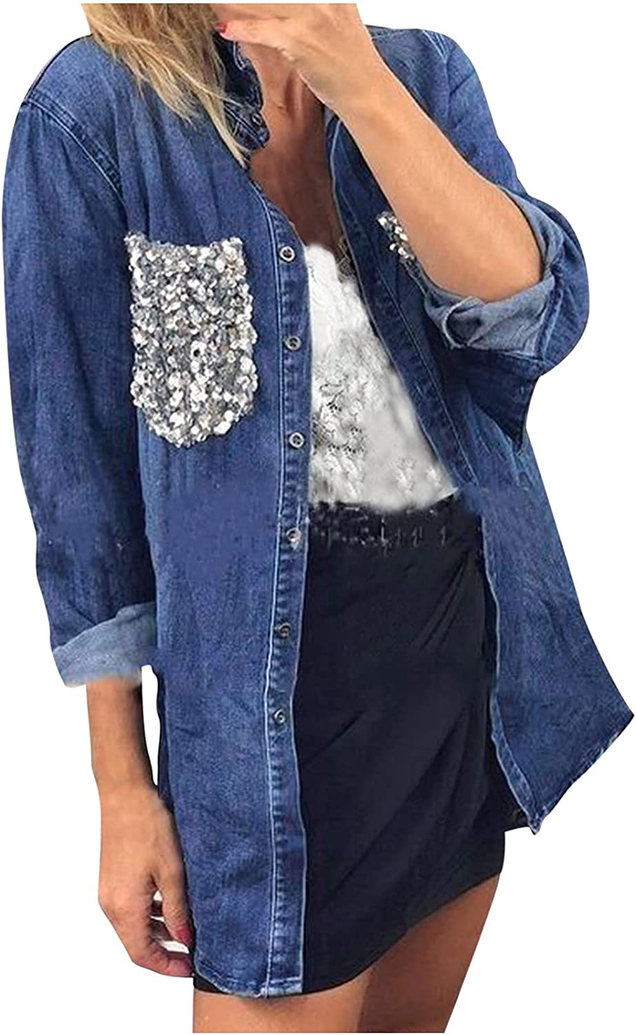 Jean Shirts for Women Denim Open Front Cardigan Long Sleeve Distressed Button Down Blouse Shirts Long Sleeve Tops