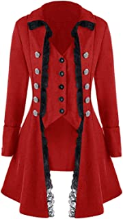 Medieval Gothic Steampunk Corset Tailcoat Halloween Costumes for Women, Victorian Renaissance Pirate Vampire Jackets Coat