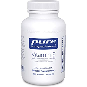 Pure Encapsulations - Vitamin E (with Mixed Tocopherols) - Dietary Supplement for Proper Cellular and Cardiovascular Functioning - 180 Softgel Capsules