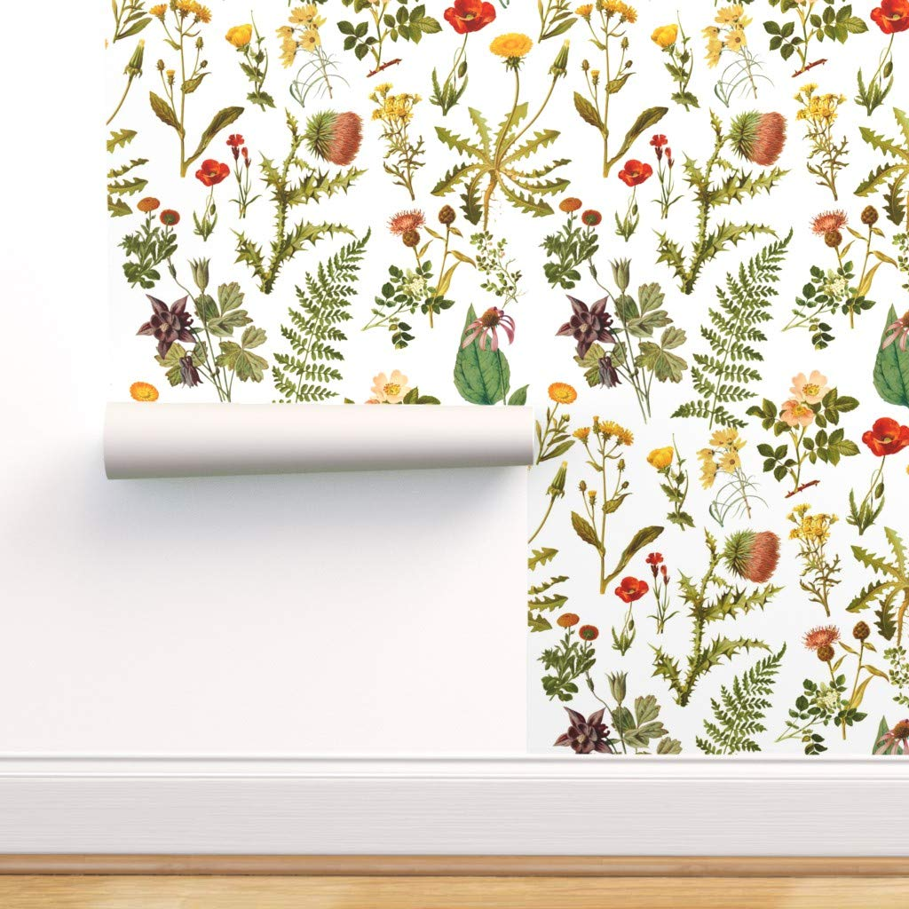 Spoonflower Peel And Stick Removable Wallpaper Vintage Florals Wildflowers Botanicals Woodland Flowers Spring Nature Print Self Adhesive Wallpaper 12in X 24in Test Swatch Amazon Com