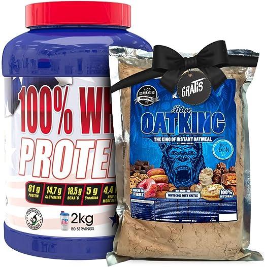 OFERTA 100% Whey Proteína en Polvo + HARINA DE AVENA 1KG GRATIS-REGALO, Suplementos deportivos, American Suplement, Yogurt Limón- 2Kg.
