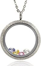 EVERLEAD Sparkle Floating Charms Locket Stainless Steel Screw Waterproof Pendant Necklace Including Chain and Birthstones