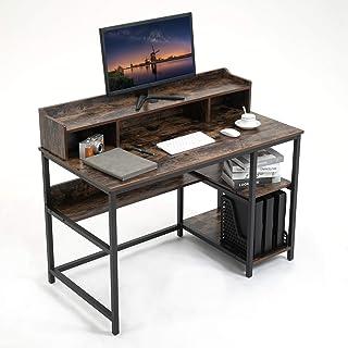 YAMASORO Schreibtisch mit Regal Computertisch klein mit Monitorständer Bürotisch Industriestil Arbeitstisch Laptop-Tisch H...