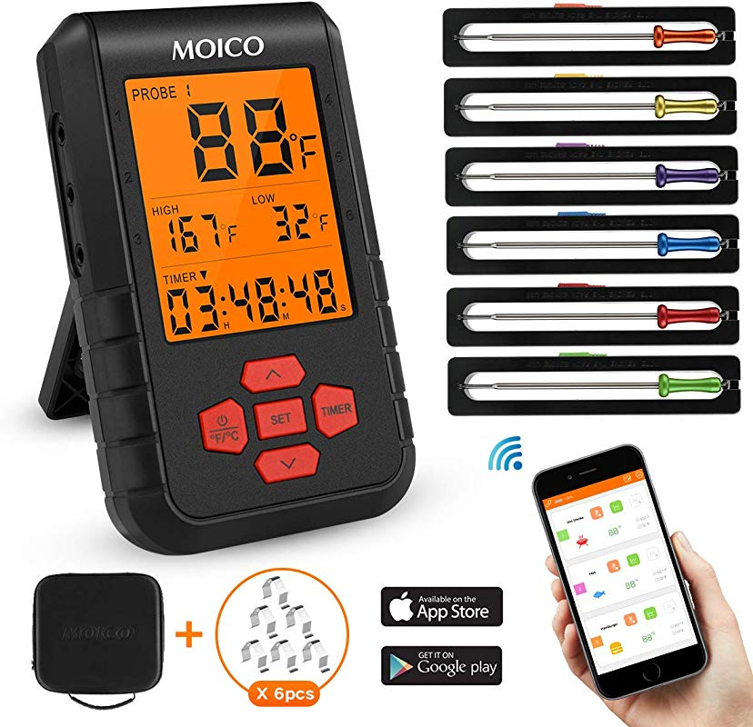 Meat Thermometer MOICO Wireless Digital Cooking Food Thermometer Two Way Control Bluetooth Thermometer With 6 Probes For Grilling BBQ Oven Support IOS Android FDA Approved Carrying Case Included