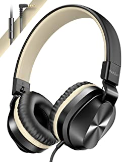 $21 » PeohZarr On-Ear Headphones with Microphone, Lightweight Folding Stereo Bass Headphones with 1.5M Tangle Free Cord, Portabl...
