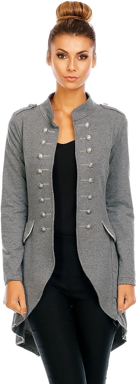 Mayaadi 6066 Damen Jacke Blazer Admiral Uniform Mantel mit Military Knopfleiste Vokuhila Grau