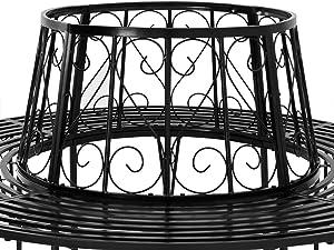 Deuba Baumbank | Metall | Ø 160cm | Pulverbeschichtet | Wetterfest | Gartenbank Rundbank Parkbank Bank