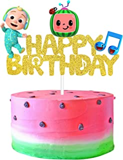Cocomelon Cake Topper, Cocomelon Cake Decoration Birthday Party Supplies for Kids 1st 2nd 3rd Birthday, Glitter Cartoon Co...