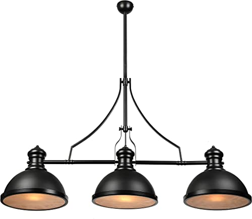 BAYCHEER Industrial Retro Vintage Style Three-Light Pool Table Light Linear Island Chandelier Pendant Light Lampe with 35.43 inch Length Chain in Black Finish use E26/27 Bulb