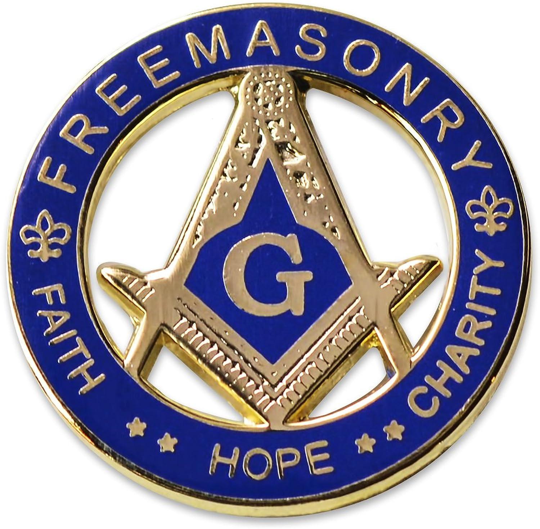 Faith Hope Charity Square & Compass Round Masonic Lapel Pin - [Blue & Gold][1 1/4'' Diameter]