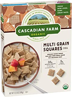 Cascadian Farm Organic Cereal, Multigrain Squares, 12.3 Ounce (Pack of 10)
