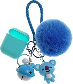 Bangtan Boys Airpod Case with Cute Fur Ball Keychain/Strap RM Rap Monster Mint Blue