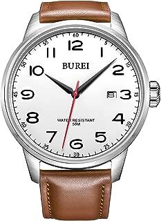 BUREI Men's Classic Easy Reader Expedition Date Quartz Watch