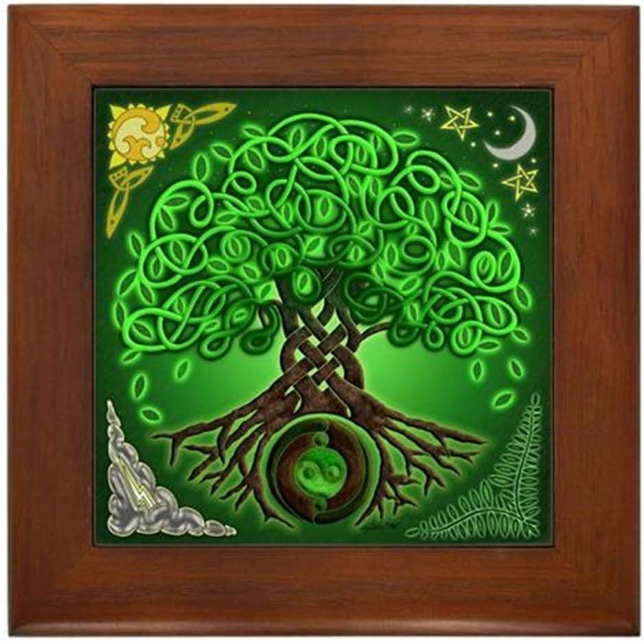CafePress Circle Celtic Tree Mail order cheap of Til Tile Decorative Lowest price challenge Life Framed