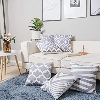 """Wtisan Grey Throw Pillows Case Cushion Cover Sofa Decorative Cotton Linen Pillow Covers 18""""X 18""""inch Geometric Pattern for Couch Sofa Pillows Set of 6"""