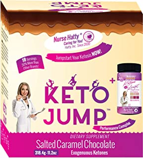 Nurse Hatty ® KetoJump BHB SALTS + KETONE STRIPS - Exogenous Ketones - Beta-Hydroxybutyrates - USA-made & PATENTED for the Ketogenic Diet (Calcium, Sodium, Magnesium & Potassium) 18 serv. Choc Caramel