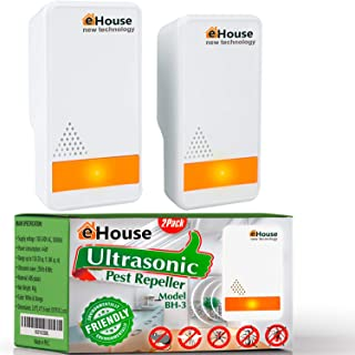 BH-3 Ultrasonic Pest Repeller - (2 Pack) Electronic Plug in Best Repellent - Pest Control - Get Rid of - Rodents Squirrels...